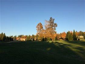 晩秋の夕方のゴルフコース